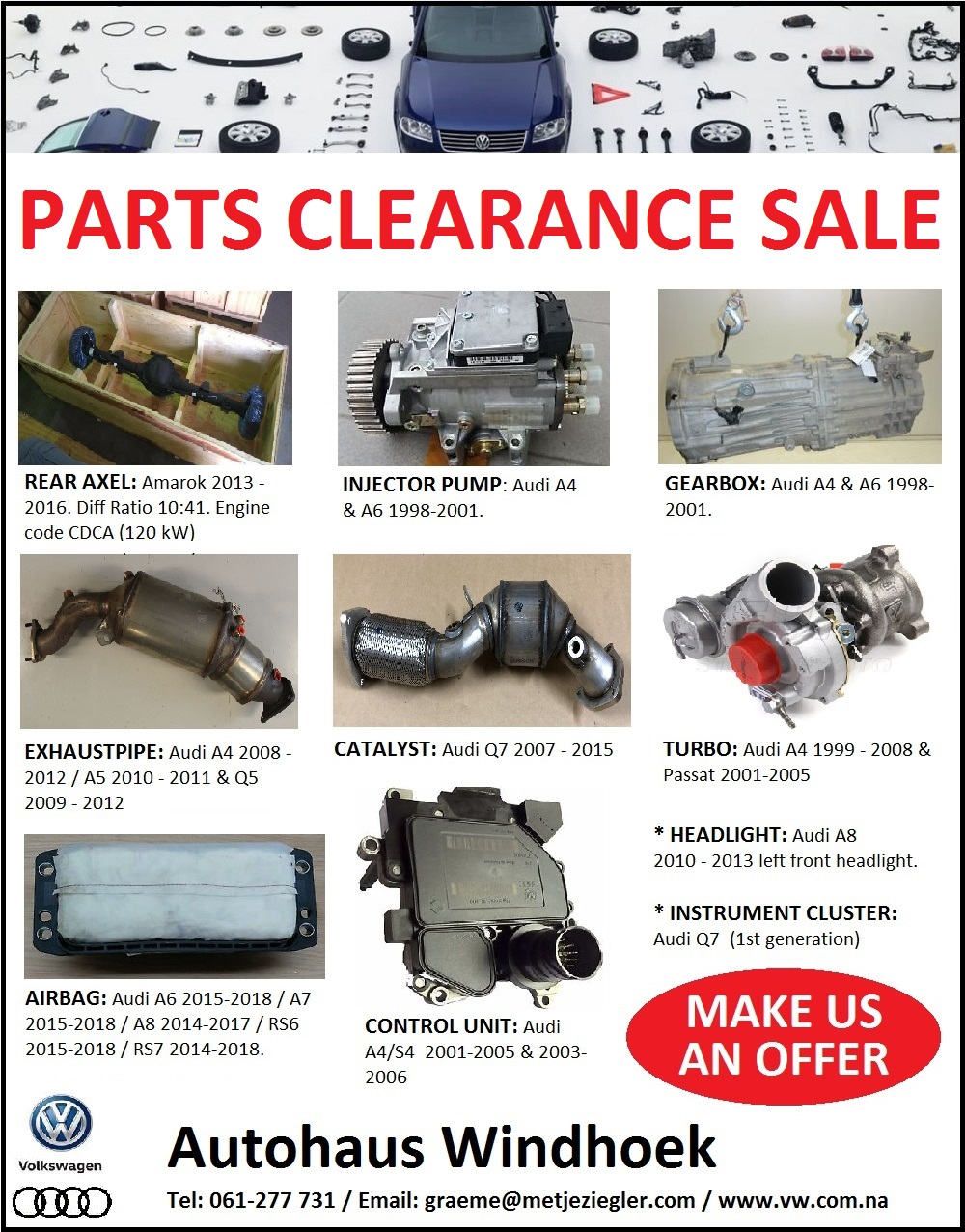 PARTS CLEARANCE SALES