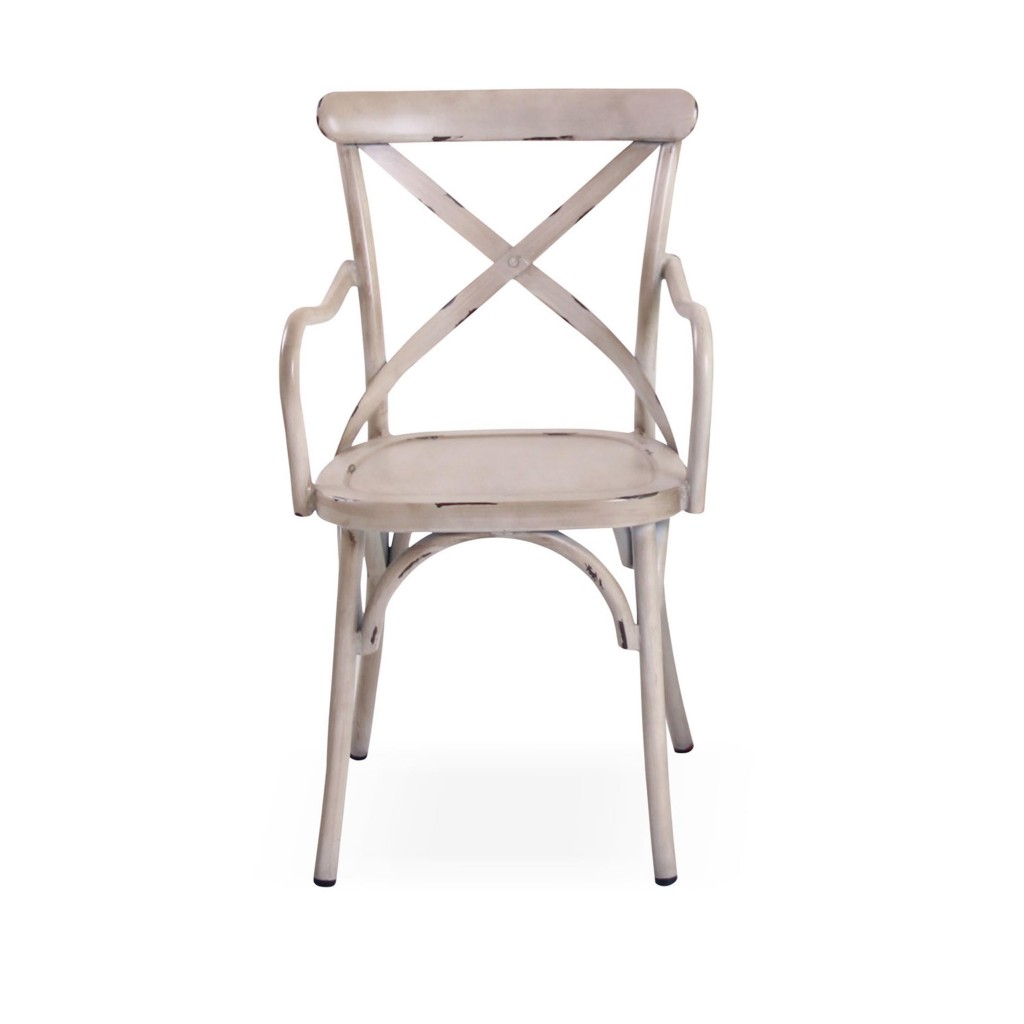 Lorry white dining arm chair