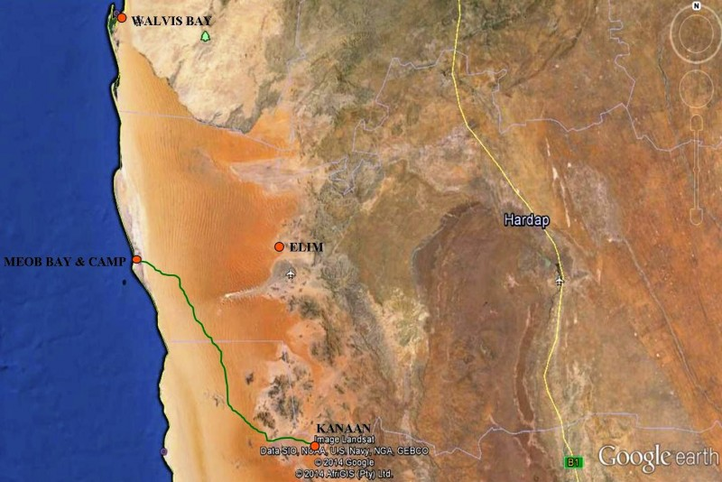 Kanaan to Meob Bay to Walvis Bay Route