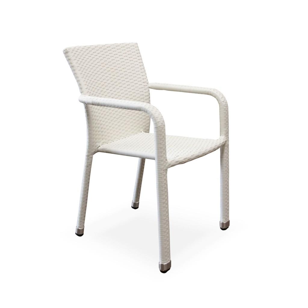 Matt white dining arm chair