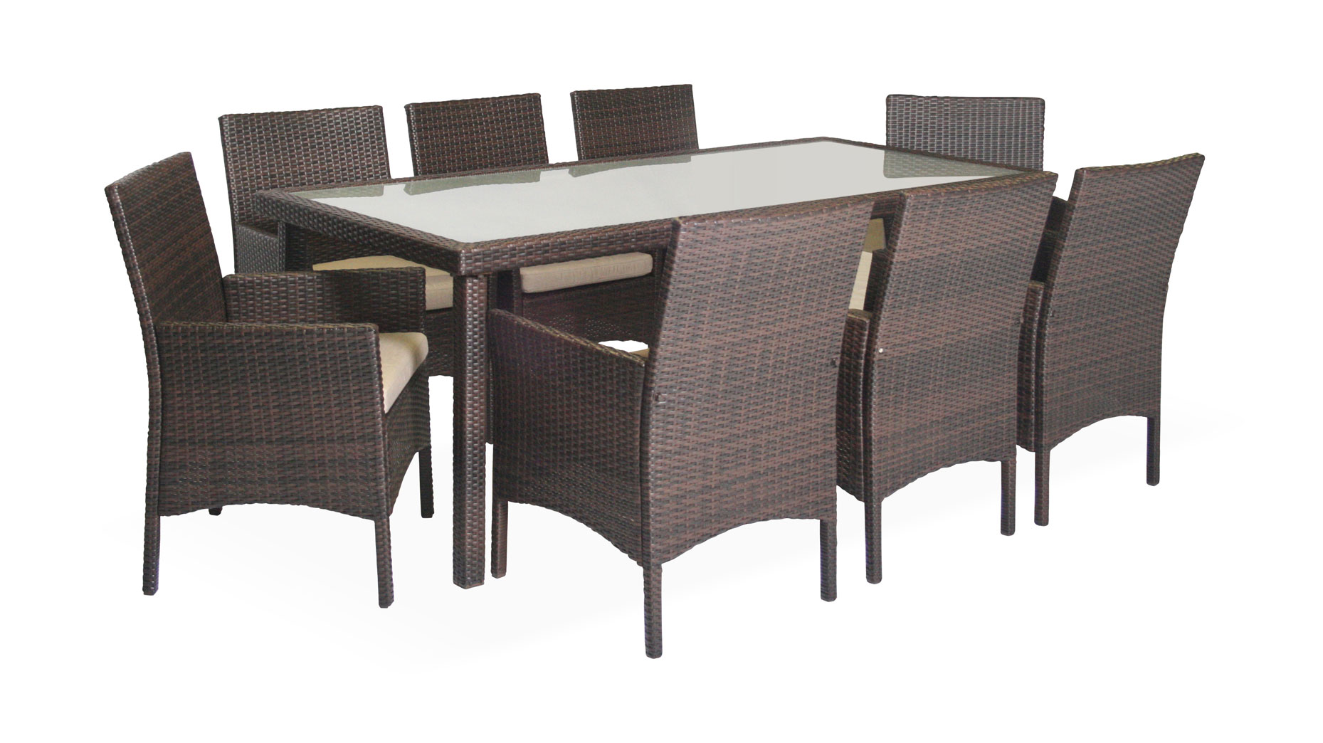 Azur 8 seater Dining set brown