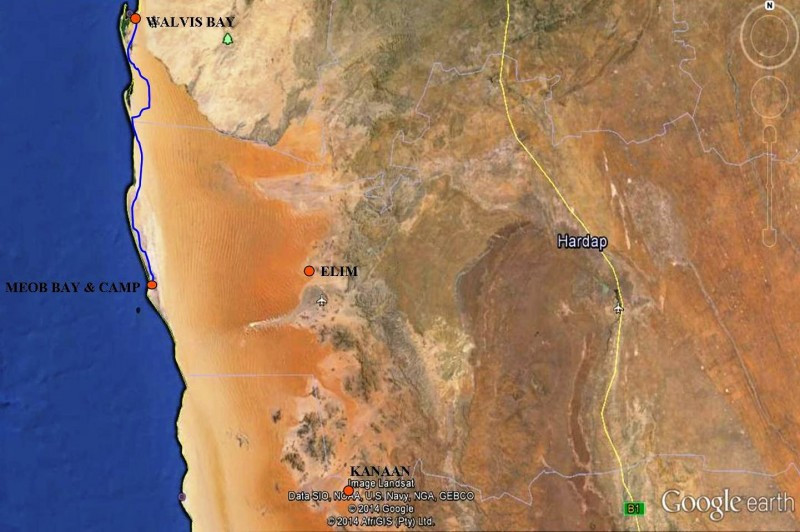 Walvis Bay to Meob Bay return route